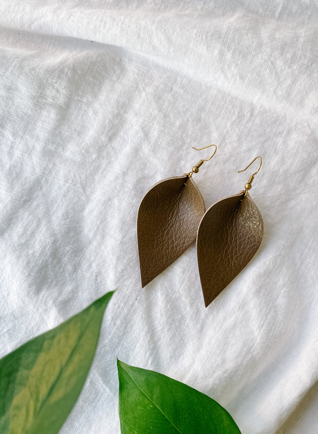 SALE - Caramel Brown Small Leaf Earrings
