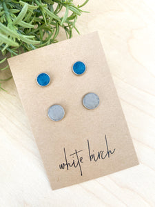 Navy Blue and Distressed Grey Leather Stud Earring Duo