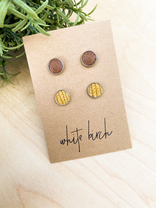Oak Textured and Distressed Brown Leather Stud Earring Duo