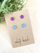 Load image into Gallery viewer, Peacock Blue and Berry Purple Leather Stud Earring Duo