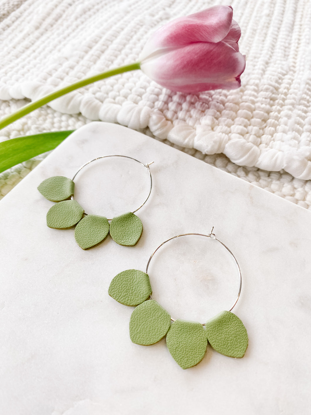 Red Glitter Leather Teardrop Earrings