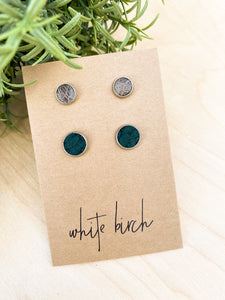 SALE - Distressed Grey Brown and Textured Pine Green Suede Leather Stud Earring Duo