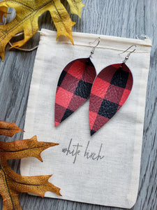 Red Black Buffalo Plaid Print Leather Leaf Earrings