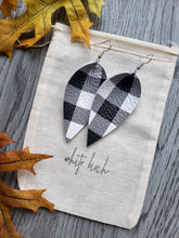 Load image into Gallery viewer, Black and White Gingham Plaid Print Leather Leaf Earrings