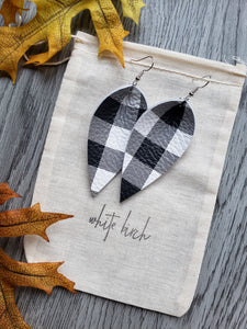 Black and White Gingham Plaid Print Leather Leaf Earrings