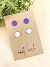 Load image into Gallery viewer, SALE - White and Purple Leather Stud Earring Duo