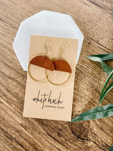 SALE Rust Leather and Brass Earrings