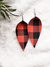 Load image into Gallery viewer, Red Black Buffalo Plaid Print Leather Leaf Earrings