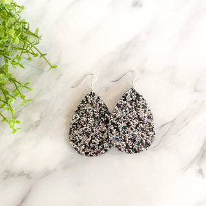 Silver & Black Glitter Leather Teardrop Earrings