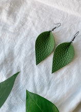 Load image into Gallery viewer, SALE - Distressed Avocado Small Leaf Earrings