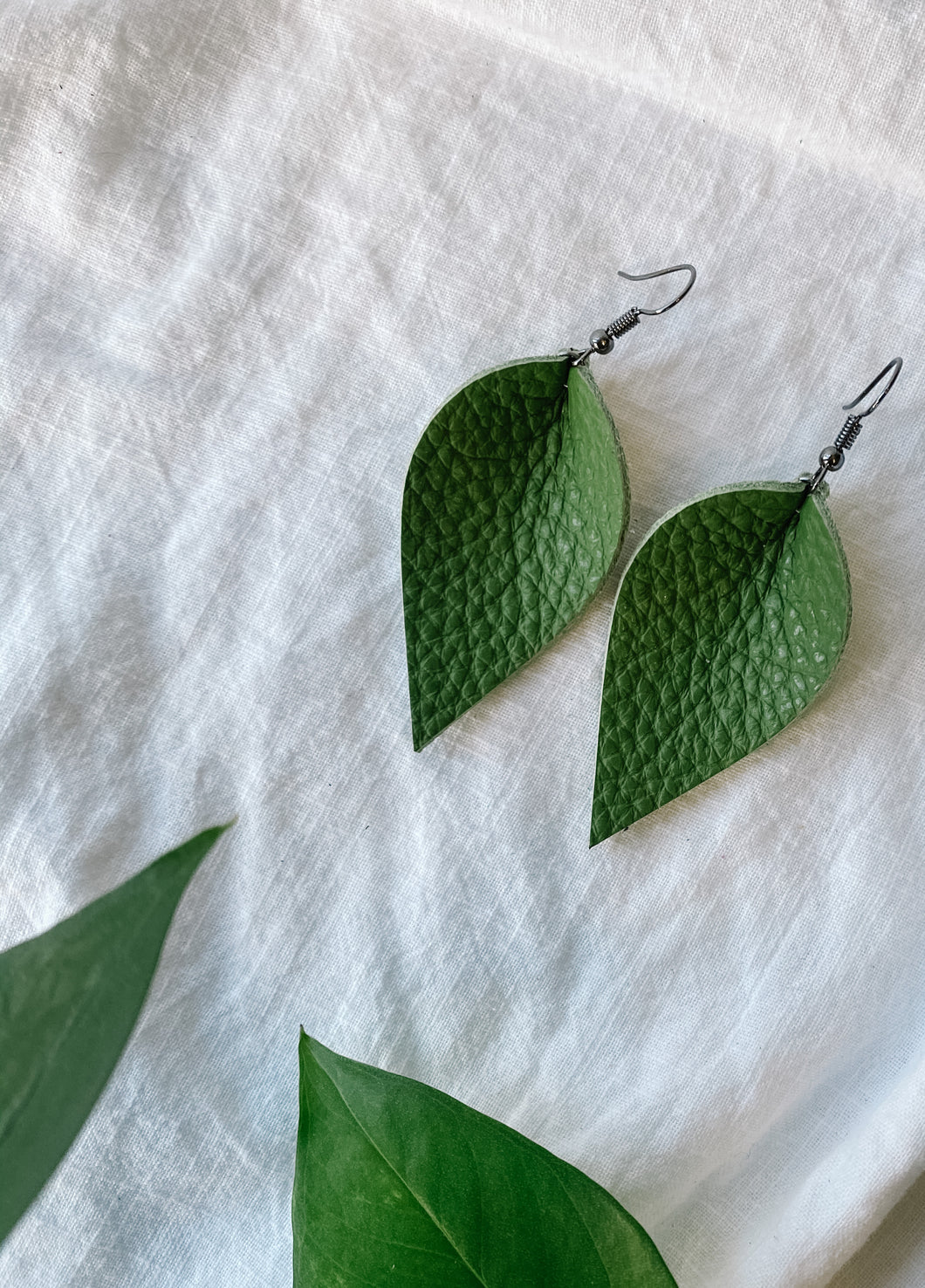 SALE - Distressed Avocado Small Leaf Earrings