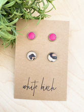 Load image into Gallery viewer, SALE - Pink and Cheetah Print Leather Stud Earring Duo