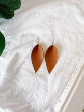Load image into Gallery viewer, Pecan Brown Leather Leaf Earrings