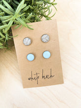 Load image into Gallery viewer, Baby Blue and Textured Grey Suede Leather Stud Earring Duo