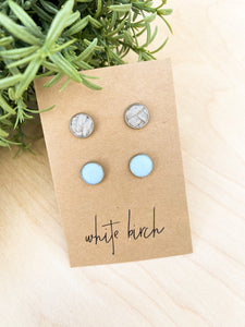 Baby Blue and Textured Grey Suede Leather Stud Earring Duo