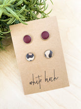 Load image into Gallery viewer, SALE - Burgundy and Cheetah Print Leather Stud Earring Duo