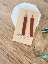 Load image into Gallery viewer, SALE Brown Leather Bar Earrings