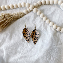 Load image into Gallery viewer, Cheetah Print Leather Leaf Earrings