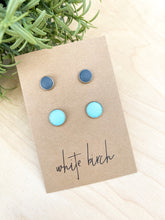 Load image into Gallery viewer, Robins Egg Teal Blue and Dark Grey Leather Stud Earring Duo