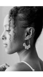 Black Leather Petal Hoop Earrings