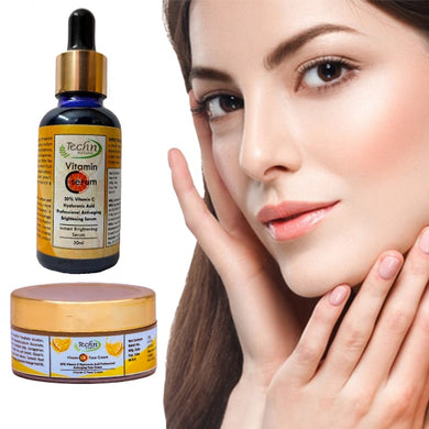 Vitamin-C Serum & Vitamin -C Cream Combo For Face Benefits / Clear Skin / Acne Removal