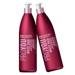 Duo shampooings Revlon Proyou cheveux blancs-gris 2x350 ml