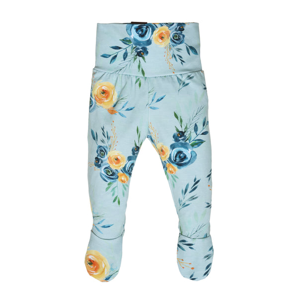 Blue flowers footed grow with me pants