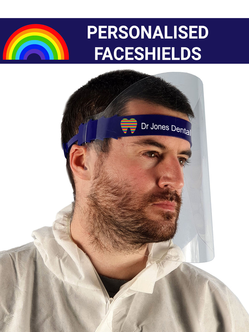 Acoshield faceshields with custom prints