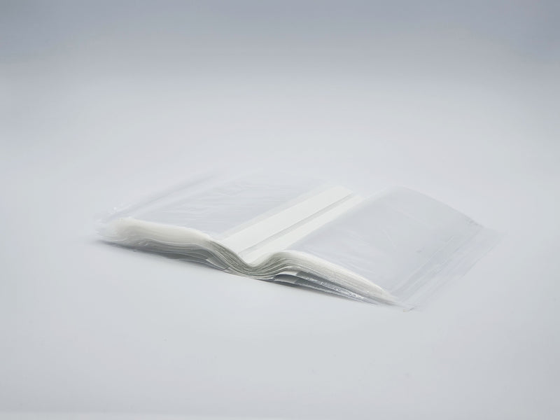 Self seal bags with write on panels
