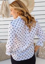 Load image into Gallery viewer, White / Navy Spot Print 100% Linen Long Sleeve Classic Shirt