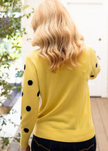 Load image into Gallery viewer, Gold / Navy Spot 55% Merino 45% Cotton Roll Neck Jumper