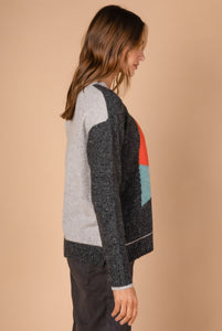 HEART INTARSIA KNIT - CHARCOAL COMBO