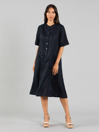 Contrast Stitch Linen Dress