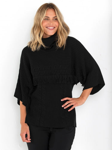 3/4 SLEEVE FRINGE SWEATER