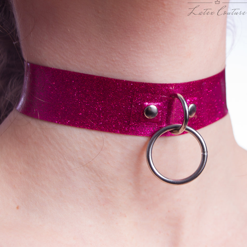 Pink Glitter Latex Choker with O Ring