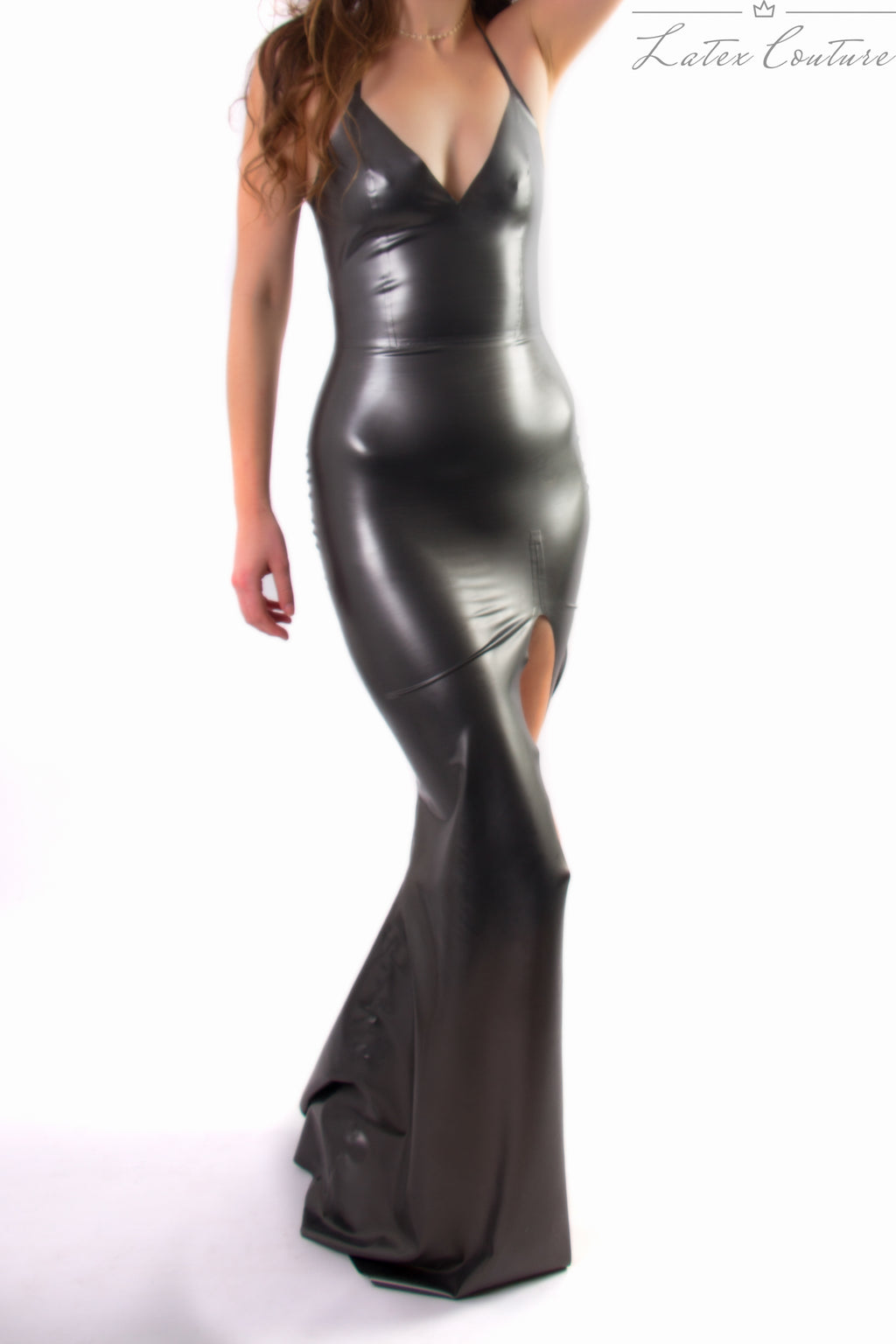 Latex Gown - Latex Slit Leg Gown