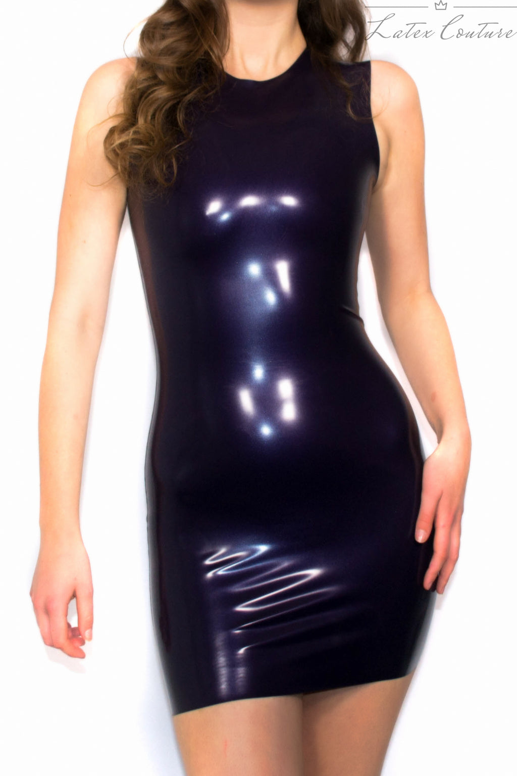 Latex Dress - Latex High Necked Latex Dress