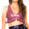 Latex Crop Top - Latex Plunge Neck Crop Top With Ruffled Bottom £55