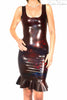 Latex Dress - Latex Scoop Neck, Cross Back, Ruffle Bottom Dress £105