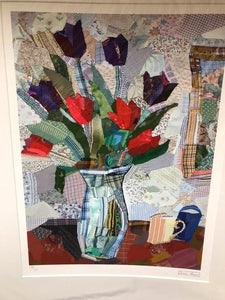 Edrica Huws Patchworks: Black and Red Tulips (1998) Print