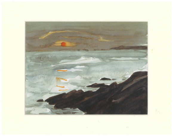 Kyffin Williams - Sunset from Barclodiad y Gawres Print