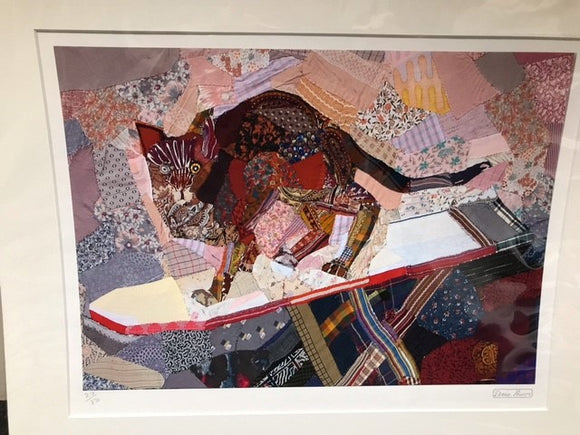 Edrica Huws Patchworks: Cat on the Ironing Board Print