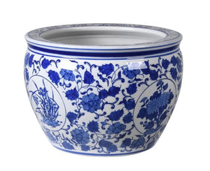 Large Blue & White Round Chinoiserie Planter