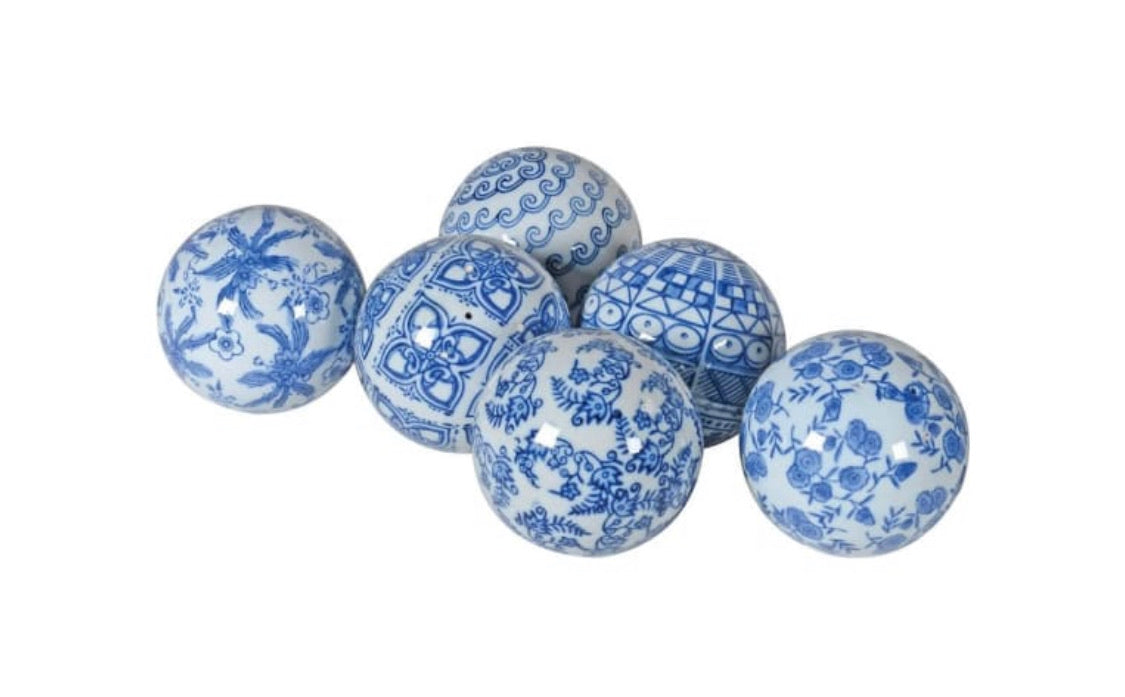 Blue and White Chinoiserie Lin Bu Balls (Set of 6)