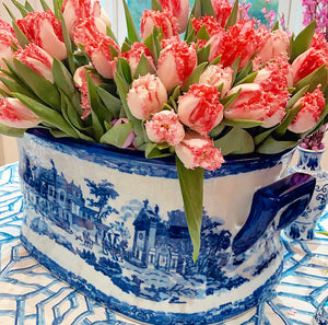 Extra Large Blue & White Oval Chinoiserie Planter