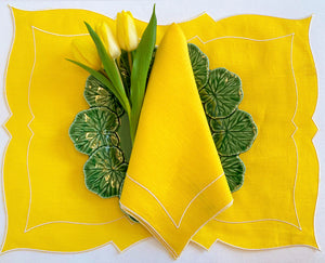Capri Linen Dinner Napkin In Lemon