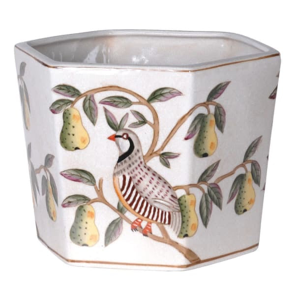 Bird and Pear Round Chinoiserie Planter