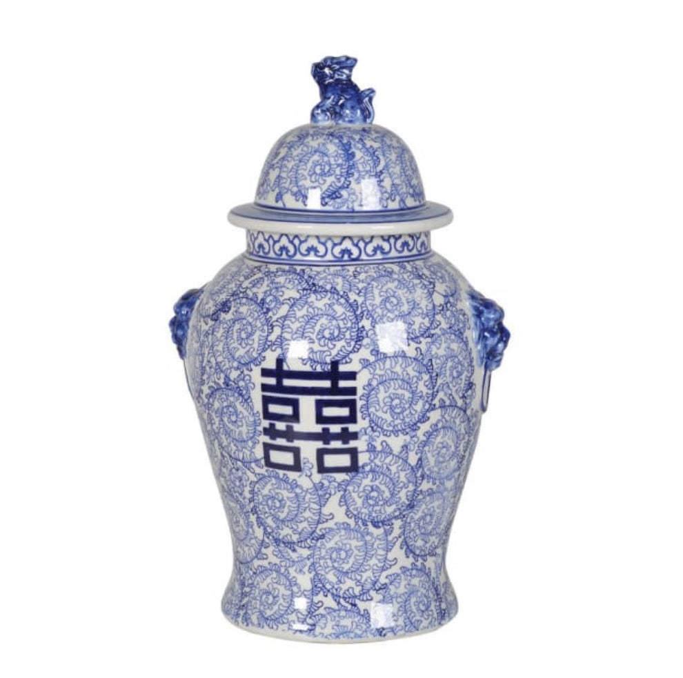 Large Blue and White Chinoiserie Temple Jar