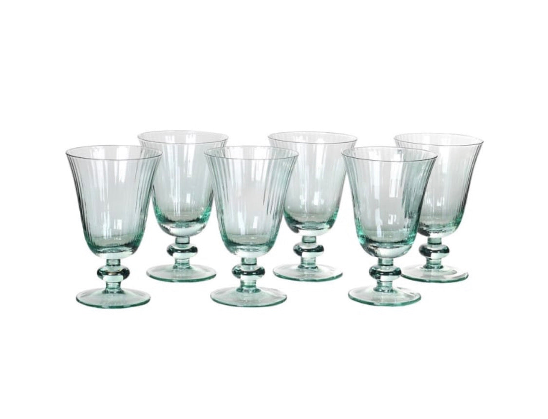 Green Tulip Water Glasses (Set of 6)