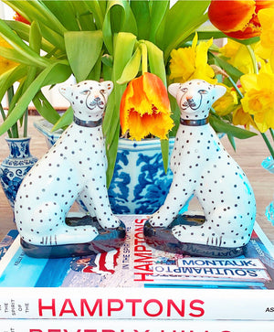 Sitting Leopards Decoration Set of Two